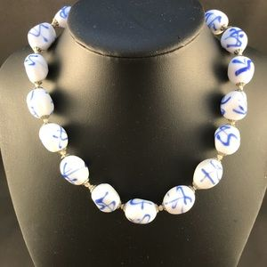 Vintage white and blue glass bead necklace
